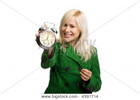 Beautiful Smiling Woman Holding Clock