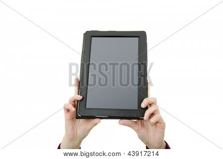 businesswoman showing touch pad, close up shot on tablet pc, isolated
