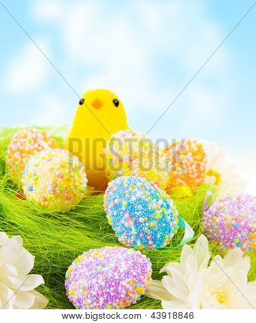Cute small yellow Chick toy with colorful eggs in the nest outdoor, traditional Easter decoration, happy holiday