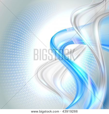 Abstract gray waving background with blue element