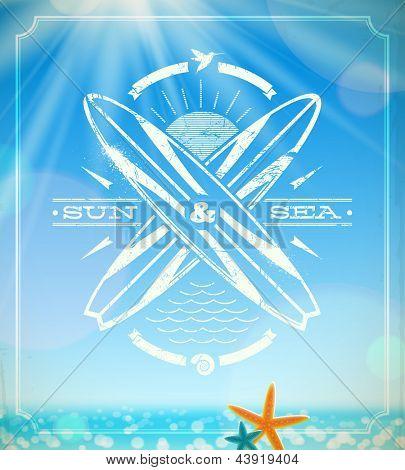 Emblema de vintage de grunge de surf de vectores contra un paisaje soleado de verano