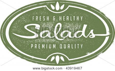 Vintage Fresh Salads Menu Stamp