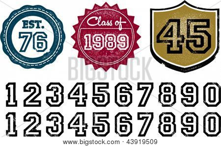 Distressed Grunge Numbers for Graduation and Established Date