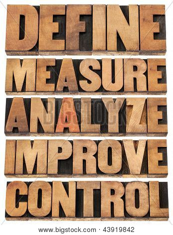 define, measure, analyze, improve, control - concept of continuous improvement process or cycle - isolated words in letterpress wood type blocks