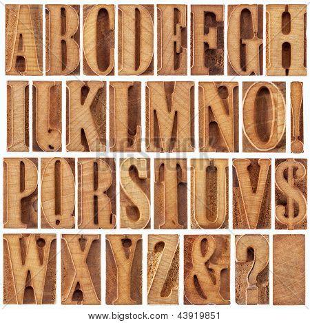 alfabeto en bloques impresión tipográfica moderna de madera tipo (sin usar), un collage de 26 letras aisladas,