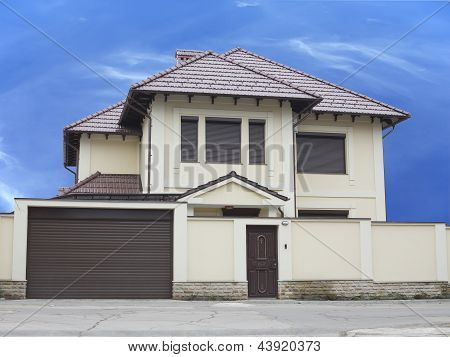 Just Builded Luxury House Over Blue Sky Background