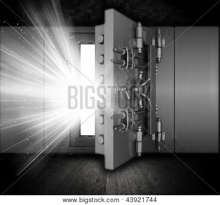 Illustration of a bank vault in a grunge interior with light beams coming out of open door