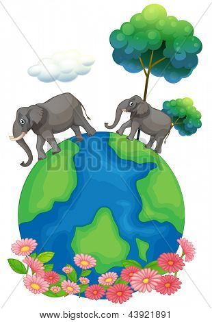 Illustration of the two elephants walking at the earth's surface on a white background
