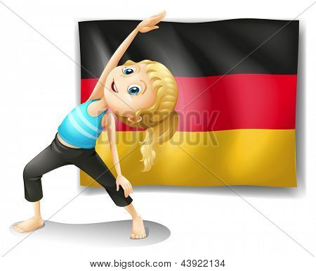 Illustration of a girl stretching in front of the flag of Germany on a white background