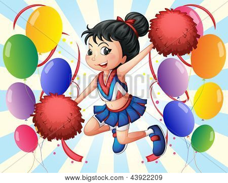 Illustration of a cheerleader holding red pompoms with balloons on a white background
