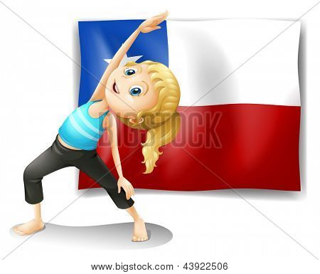 Illustration of a girl stretching in front of a flag on a white background