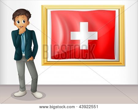 Illustration of a man beside the framed flag of Switzerland on a white background