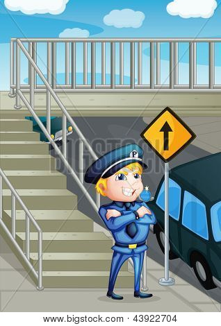 Illustration of a traffic enforcer standing beside an outpost