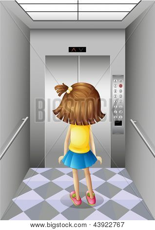 Illustration of a little girl at the elevator