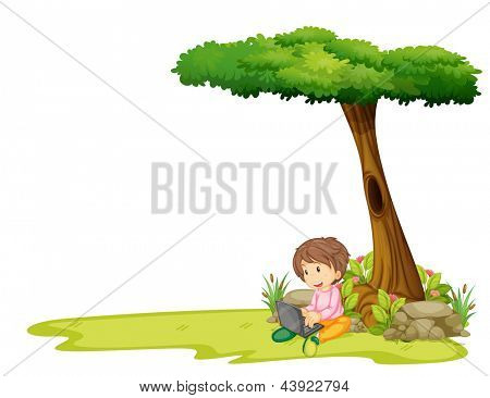 Illustration of a boy with a laptop under a tree on a white background