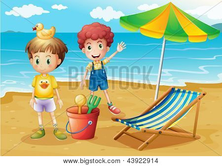 Illustration of the kids at the beach with an umbrella and a foldable bed