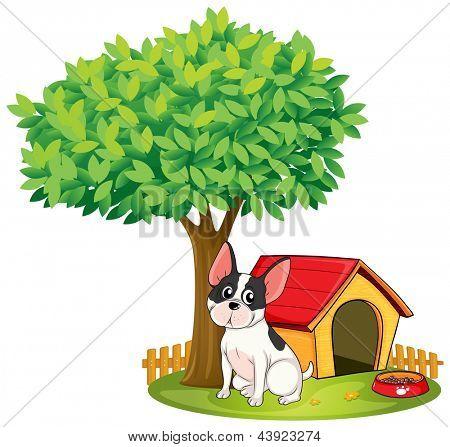 Ilustração de uma casinha de cachorro e um cão debaixo de uma árvore sobre um fundo branco