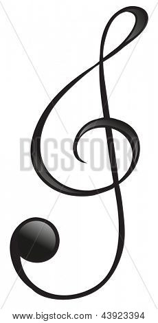 Illustration of the G-clef symbol on a white background