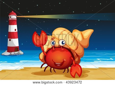 Illustration of the sea creatures at the beach with a lighthouse