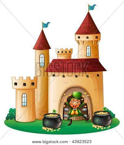 Illustration of a man in front of a castle with two pots of gold on a white background