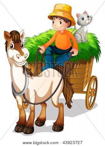 Illsutration of a farmer riding a cart with a cat at the back on a white background