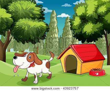 Illustration of a dog with a doghouse and a dogfood near the trees