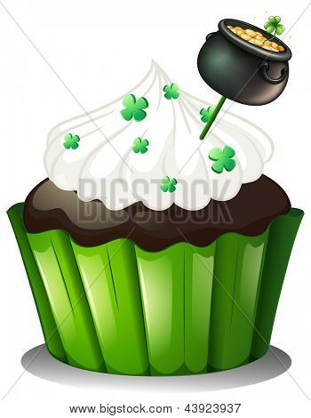 Illustration of a chocolate cupcake with a pot full of coins on a white background