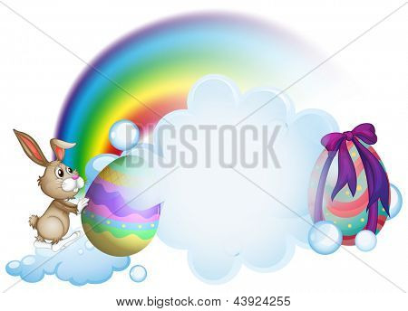 Illustration of a bunny and the easter eggs near the rainbow on a white background