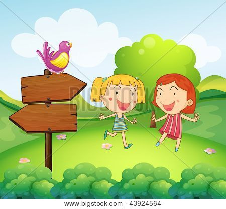 Illustration of a wooden board with a bird beside the two young girls