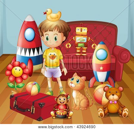 Illustration of a child inside the house with his toys