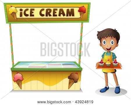 Illustration of a boy selling ice cream for summer on a white background