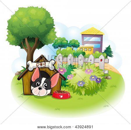 Ilustração de um cão com uma casinha de cachorro entre os edifícios elevados sobre um fundo branco