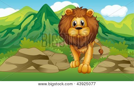 Illustration of a lion with a mountain scenery at the back
