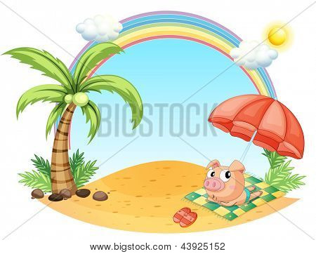 Illustration of a pig relaxing at the beach on a white background