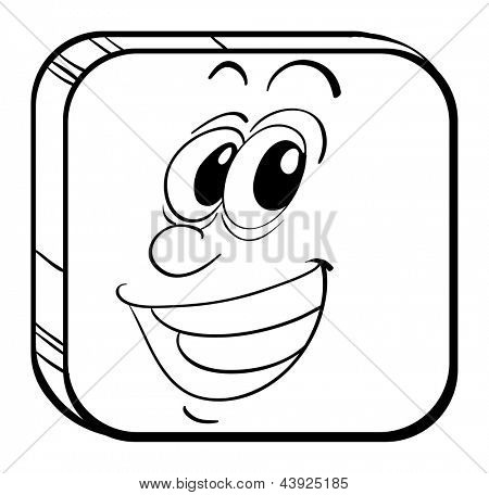 Illustration of a cube with a face of a man on a white background