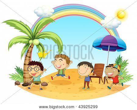Illustration of the four boys having an outing at the beach on a white background