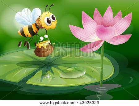 Illustration of a bee with a pot of honey above a waterlily