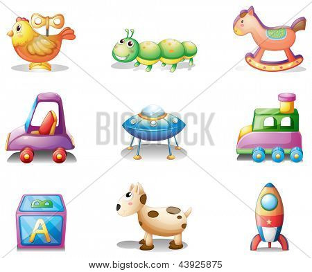 Illustration of the nine different toys for children on a white background