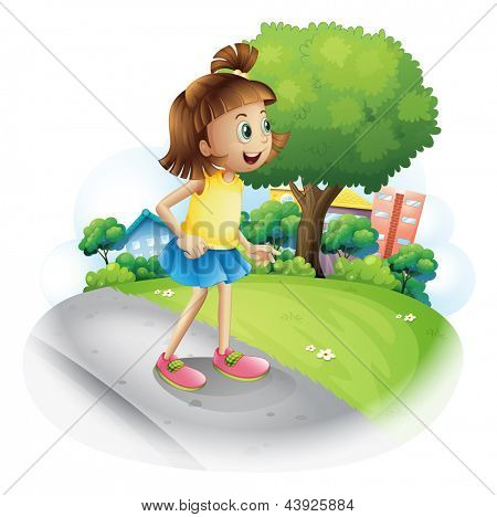 Illustration of a little girl at the street on a white background