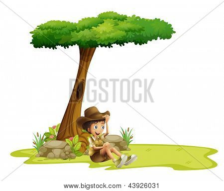 Illustration of a boy resting under a tree on a white background