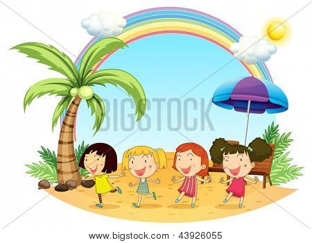 Illustration of the young women at the beach on a white background