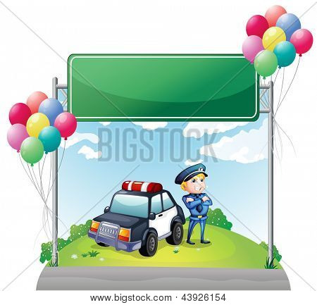 Illustration of a policeman with his car near the green empty board on a white background