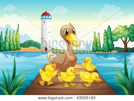 Illustration of a mother duck with four baby ducks in the wooden bridge