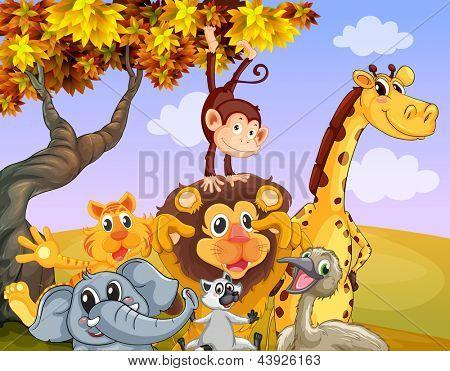 Illustratie van de wilde dieren in de buurt van de grote boom
