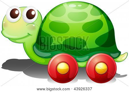Illustration of a toy turtle with wheels on a white background