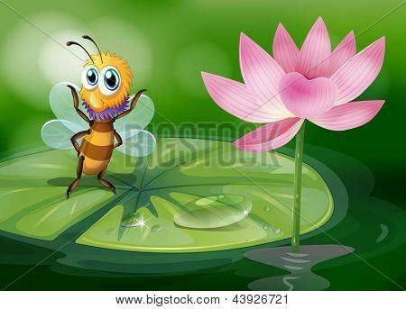 Illustration of a bee above a waterlily