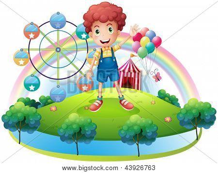 Illustration of a boy near an amusement park on a white background