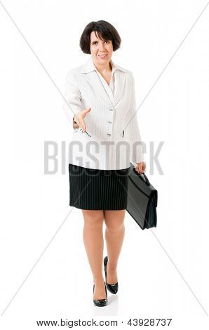 Erfolgreiche geschäftsfrau grüßt mit seiner Hand, isolated on white background