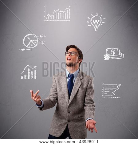 young boy standing and juggling with statistics and graphs