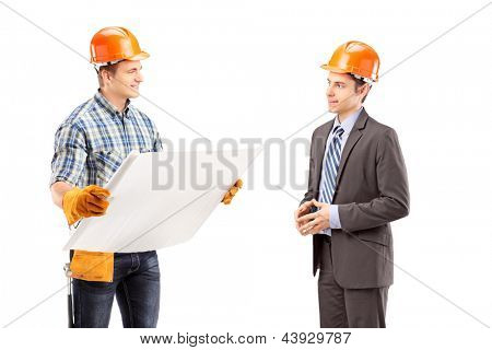 Male engineer holding a blueprint and having a conversation with architect isolated on white background